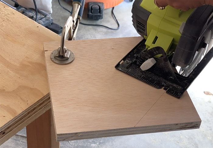 cutting plywood for bottom of vegetable storage bin