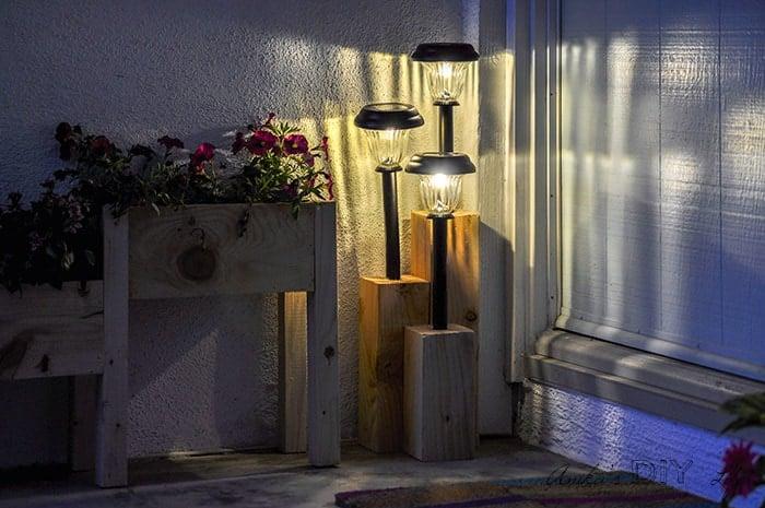 Solar light stand at night