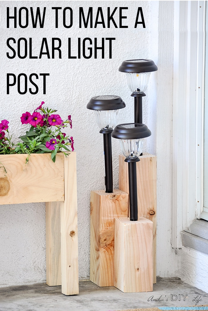 4x4 DIY solar light post at front door next to planter with text overlay