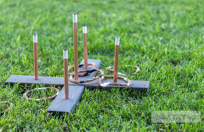 DIY Ring toss game and rings on the grass