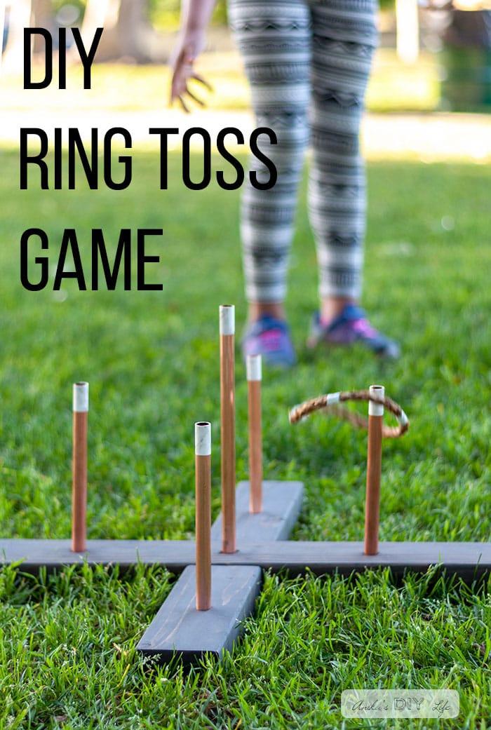 Girl playing with DIY ring toss game with text overlay