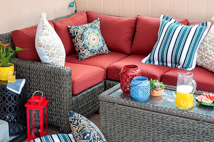 Close up view of sectional in the small patio