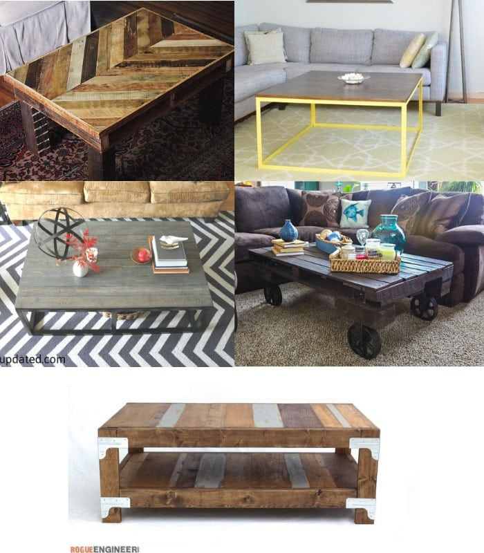 collage of DIY industrial coffee tables