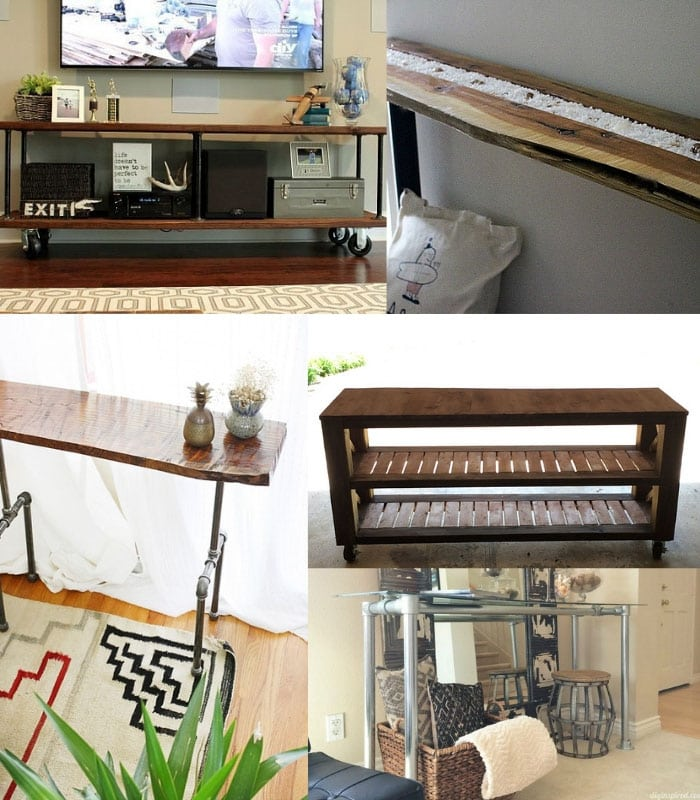 Collage of DIY industrial console table ideas
