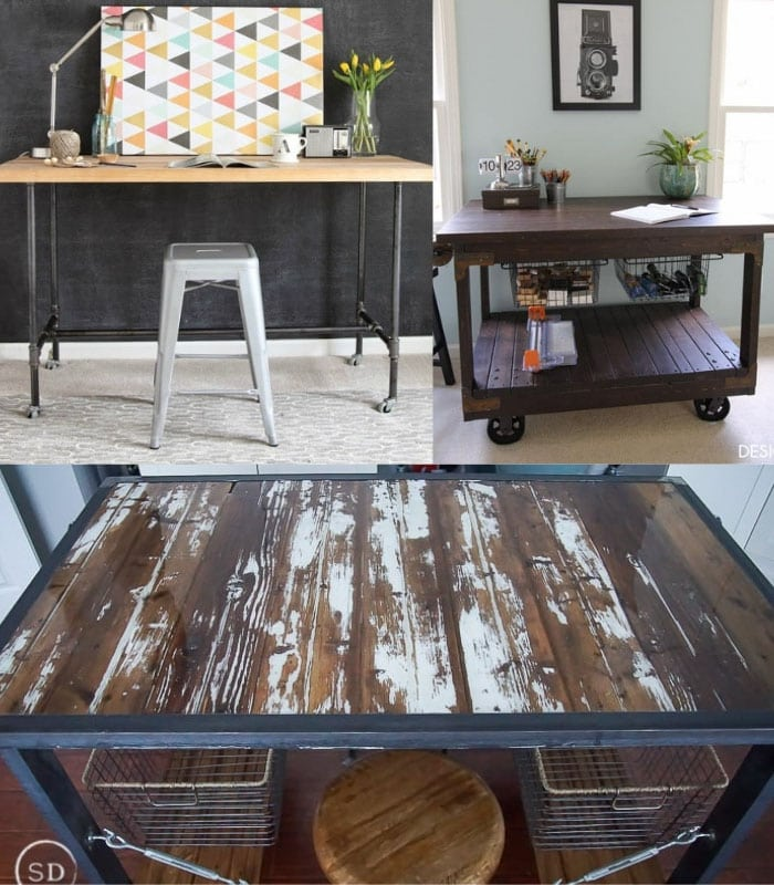 Collage of DIY industrial craft tables and desks
