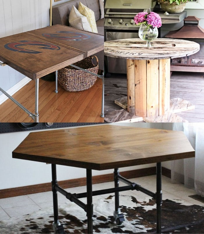 Collage of DIY industrial dining tables