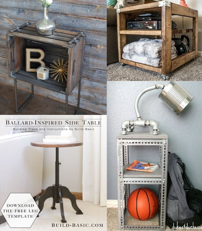 collage of DIY industrial end table ideas