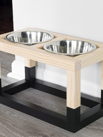 Learn how to build a DIY raised dog bowl stand with a simple and modern design.