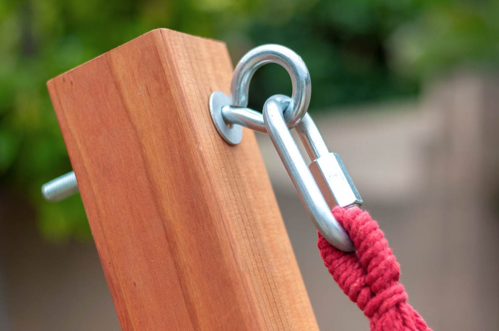 Eye bolt and quick link to attach hammock to the DIY hammock stand