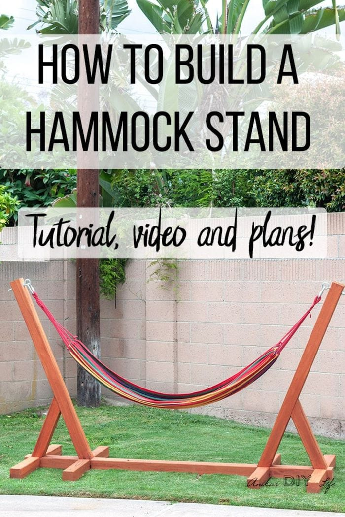 Easy DIY Hammock stand in garden with text overlay