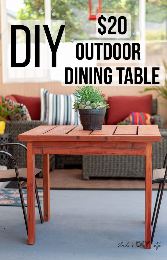 DIY outdoor dining table in patio with text overlay