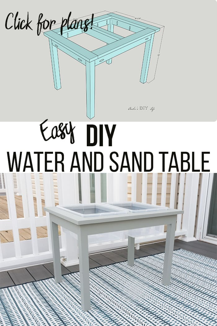 Collage of DIY water table with sketch and text overlay