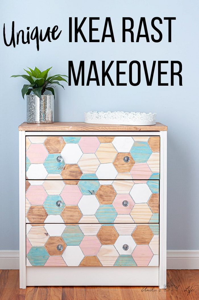 Colorful Ikea Nightstand makeover with engraved honeycomb structure and text overlay