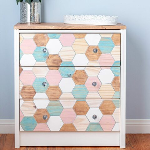 This amazing Ikea Rast nightstand hack is simple yet very gorgeous! Learn how to create this pretty Ikea Rast using a Dremel and few colorful stain colors!