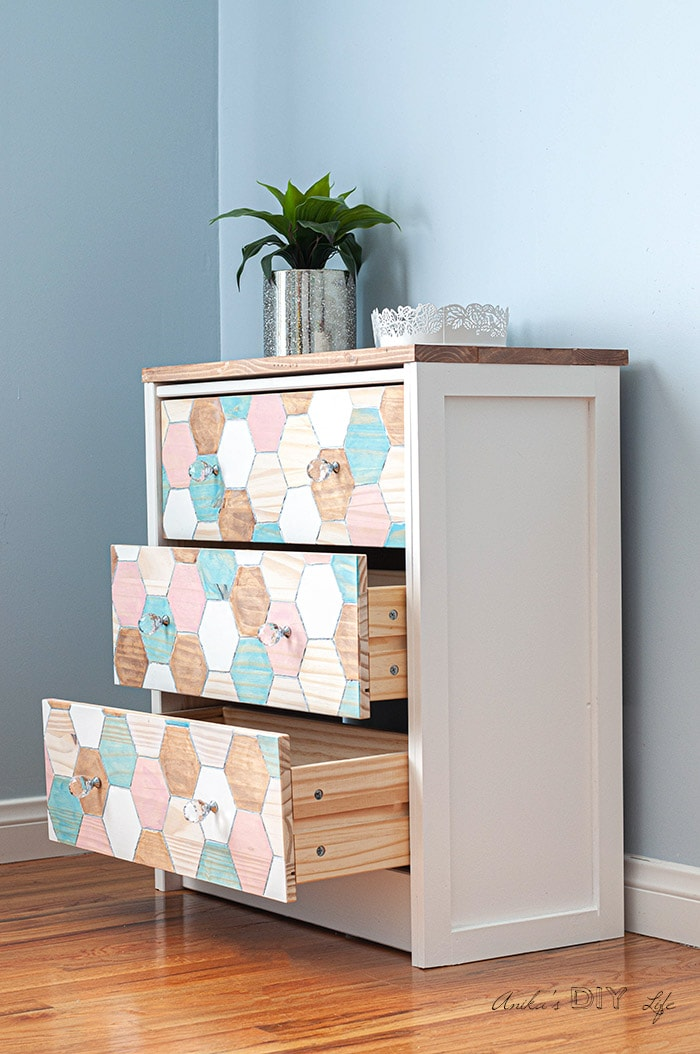 Side view of the Ikea Rast makeover with the drawers open