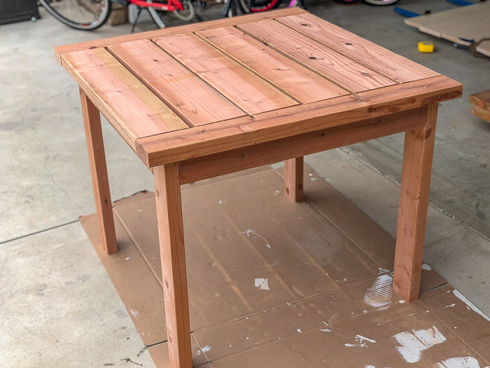 Completed square DIY outdoor table