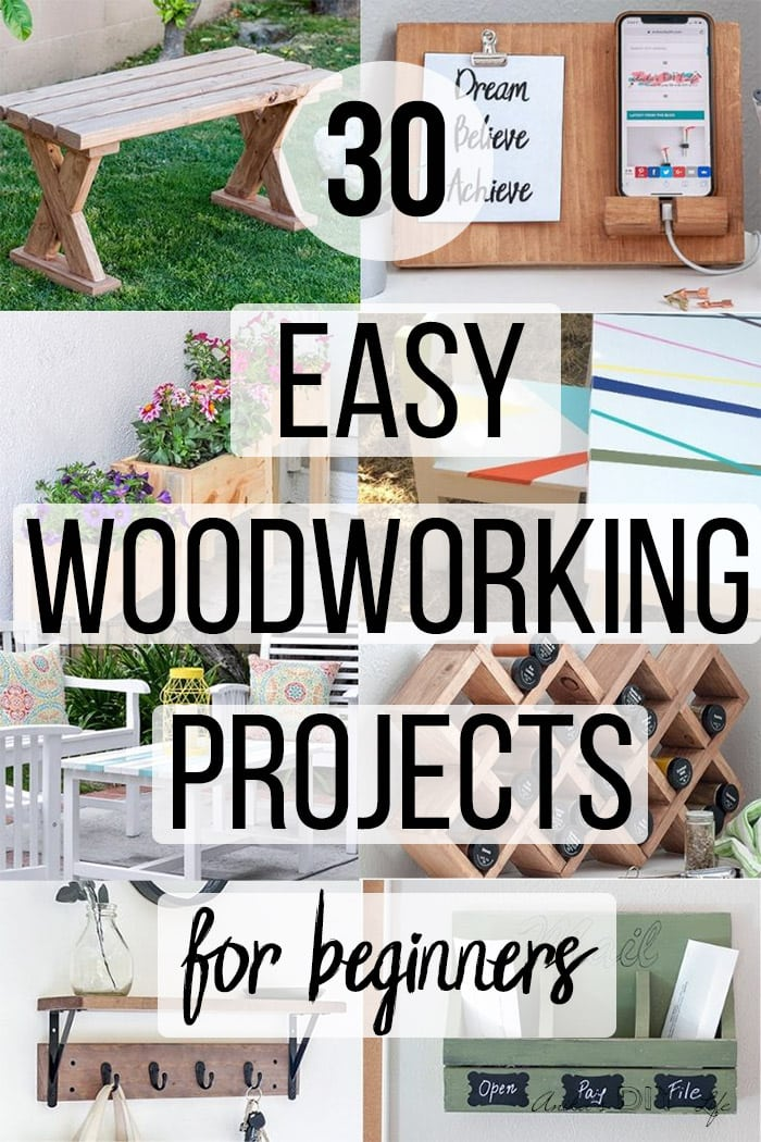 Collage of simple beginner woodworking projects with text overlay