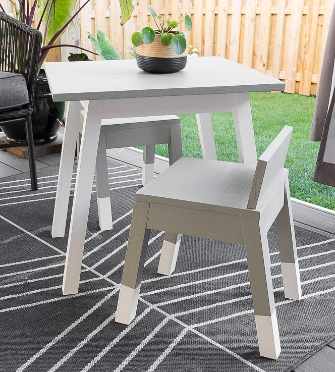 DIY angled leg kids table and chair in patio