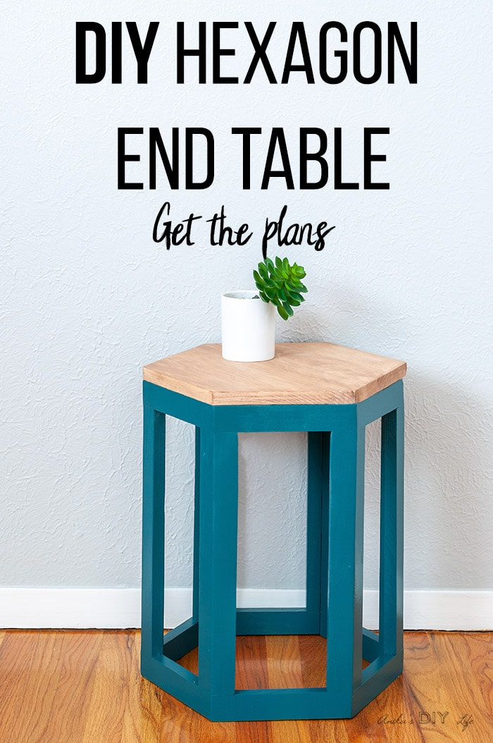 Teal DIY Hexagon end table with stained top and text overlay
