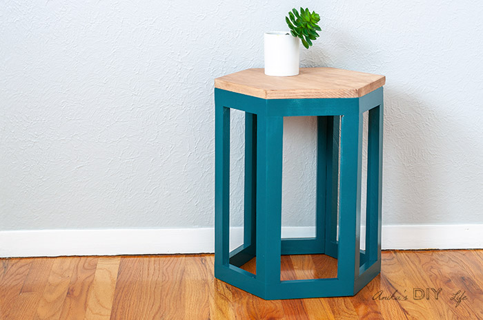 DIY Hexagon end table with small plant on top