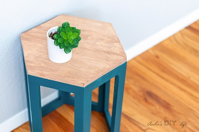Close up of the DIY Hexagon end table with small plant on top
