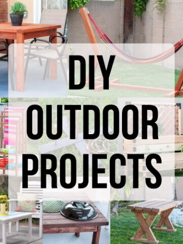 These beginner-friendly DIY outdoor project ideas include full project tutorials to spruce up your outdoor space on a budget - including simple woodworking and furniture plans, curb appeal improvements and decor ideas!
