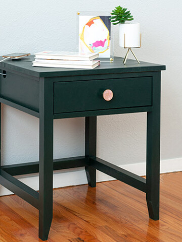 Learn how to build a DIY End Table with a hidden charging station. Say goodbye to the wire clutter! This works as a great DIY charging nightstand as well!