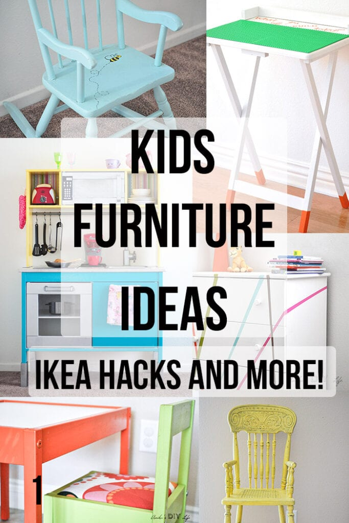 DIY Kids furniture makeover ideas with text overlay