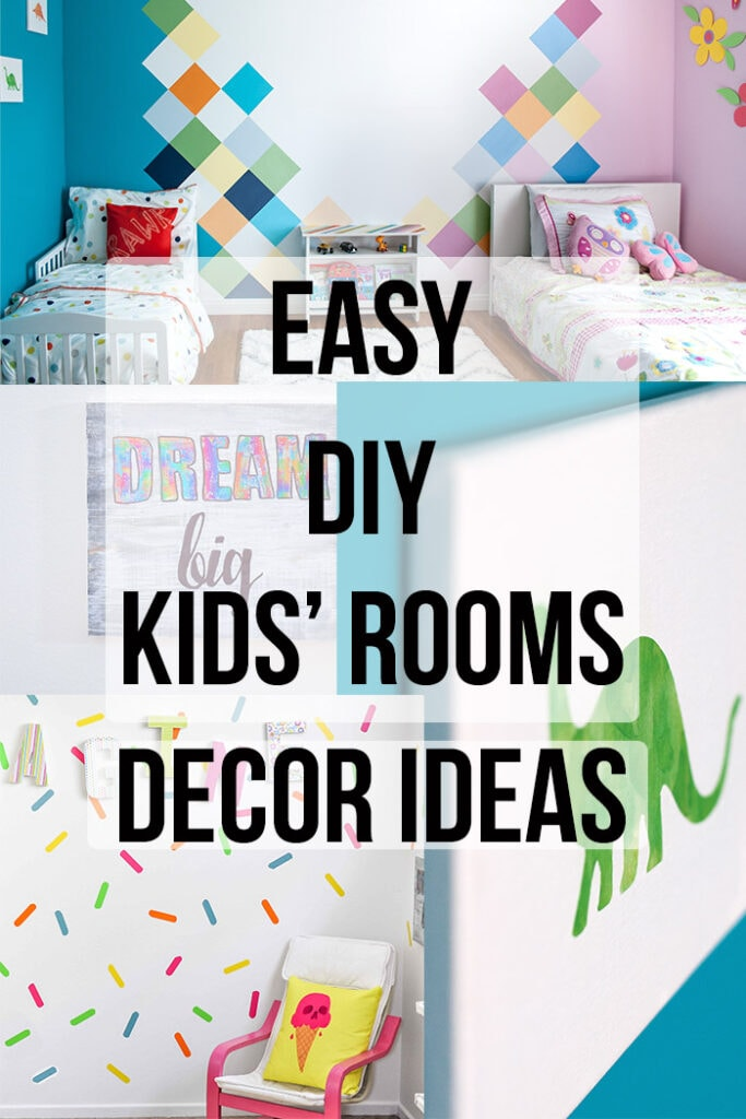 Collage of DIY Kids room decor ideas with text overlay