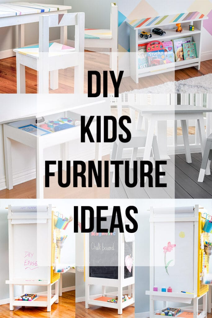 DIY Kids room furniture collage with text overlay