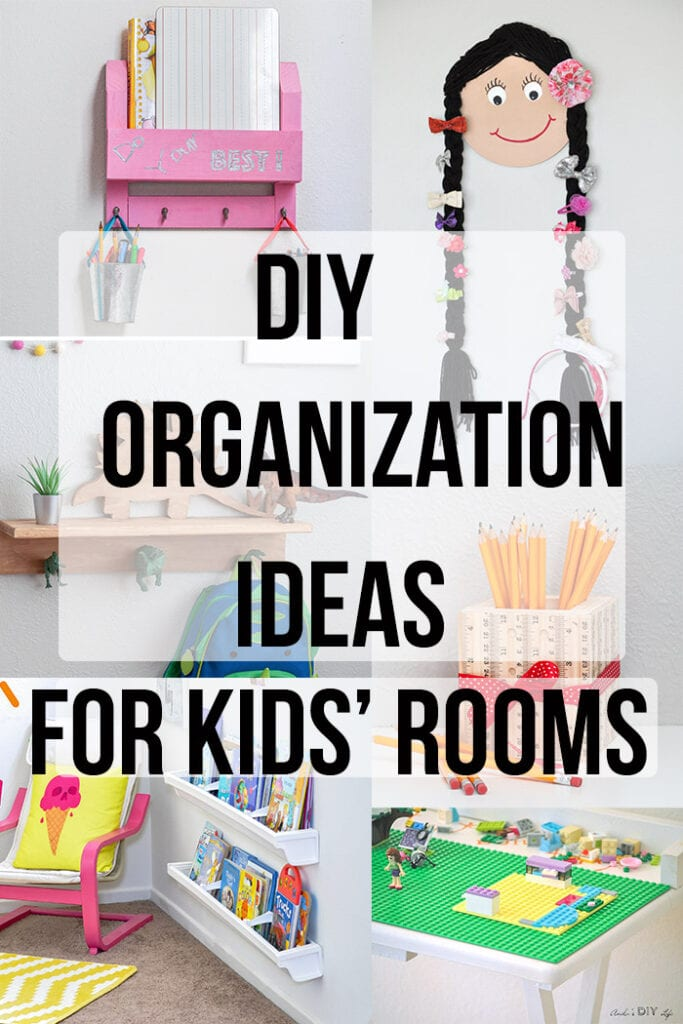 Collage of kids room organization ideas with text overlay