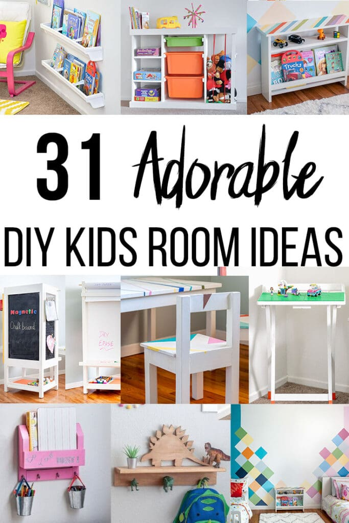 Collage of various DIY Kids room project ideas with text overlay