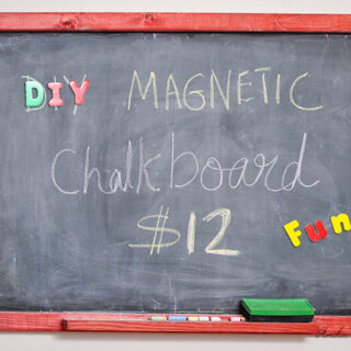 Easy DIY Magnetic chalkboard with writing and magnets.