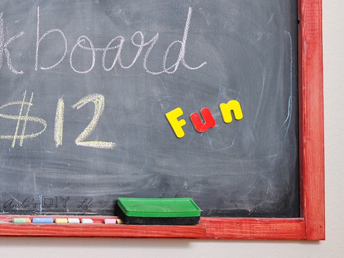 Corner view of the DIY magnetic chalkboard