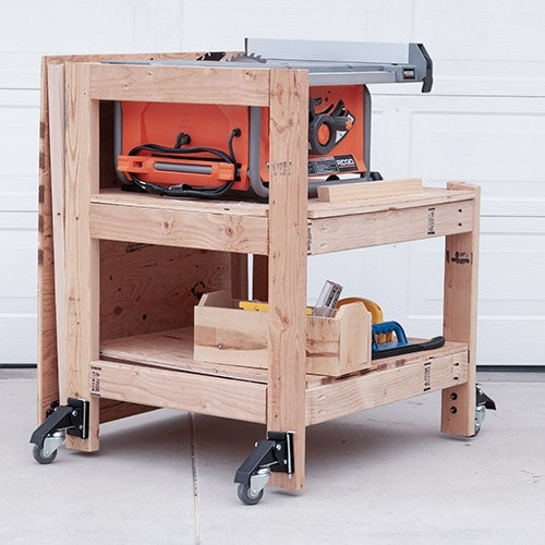 Learn how to make a DIY table saw stand with a folding outfeed table. This simple portable table saw stand is perfect for a small shop! Get the plans and detailed video tutorial.