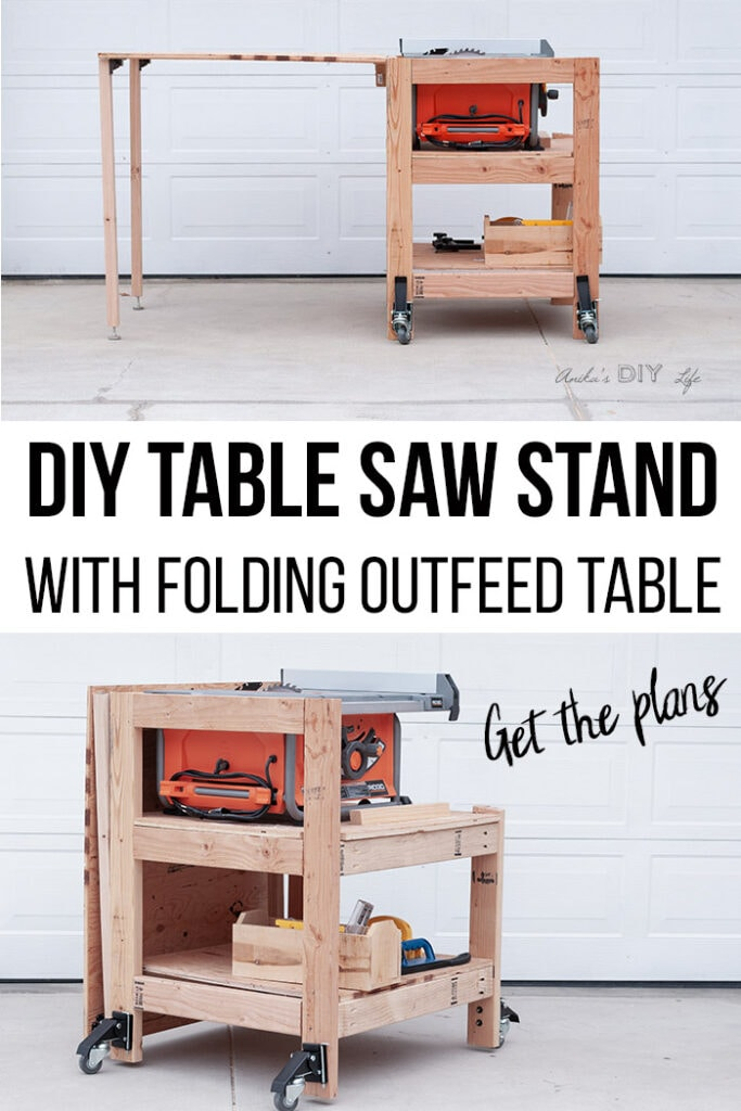 Diy Table Saw Stand With Folding Outfeed Table