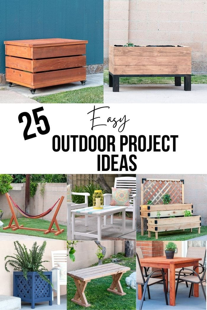 image collage of diy outdoor projects with text overlay