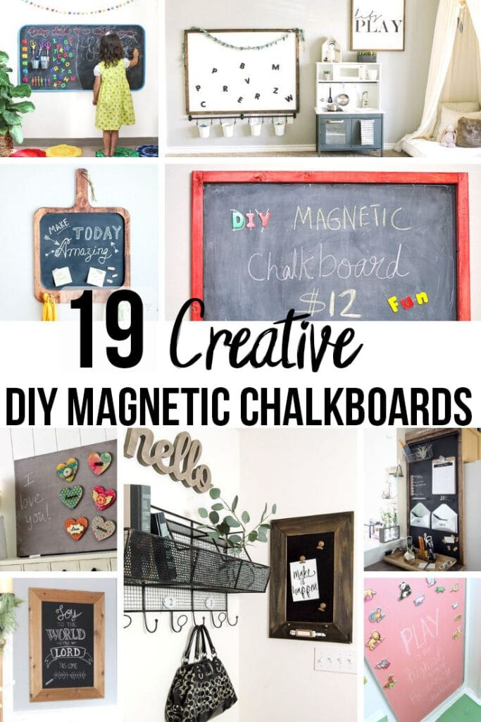 collage of DIY magnetic chalkboards with text overlay