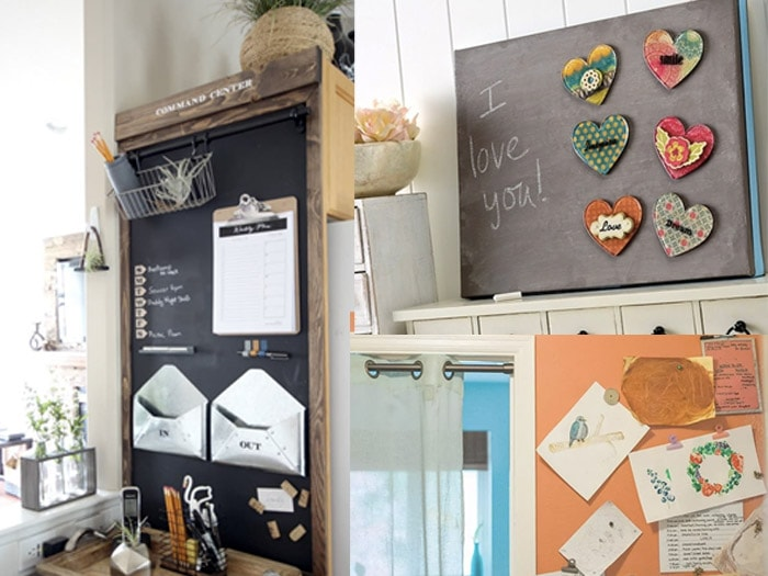 collage of DIY Magnetic chalkboards as command centers.