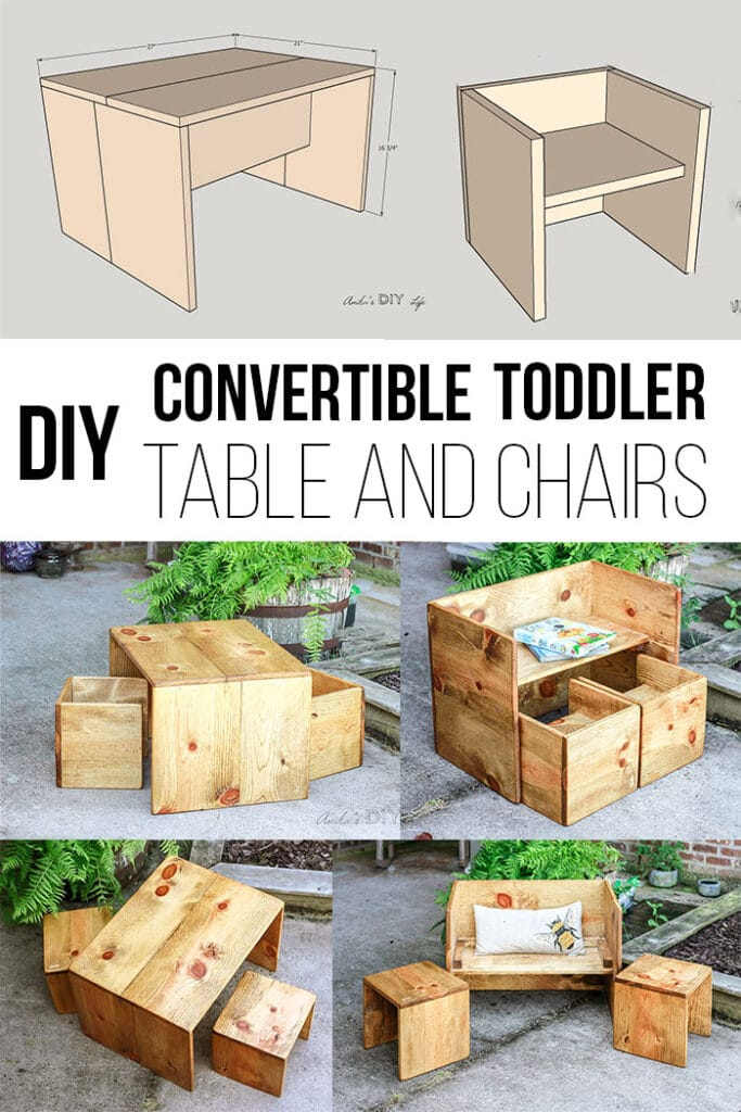 Collage of convertible DIY toddler table and chairs
