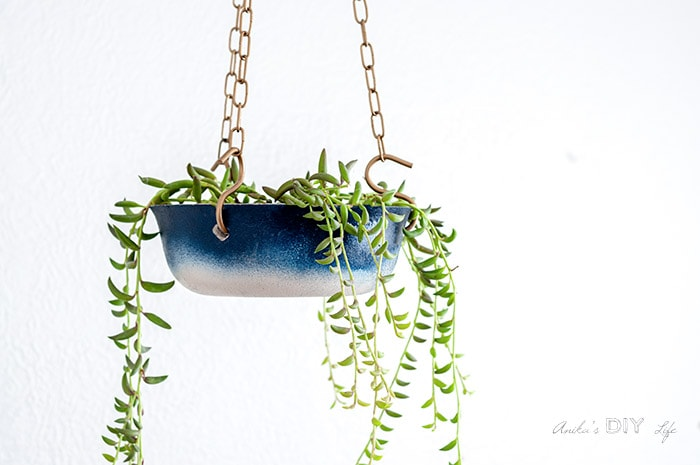close up of the ombre painted hanging planter