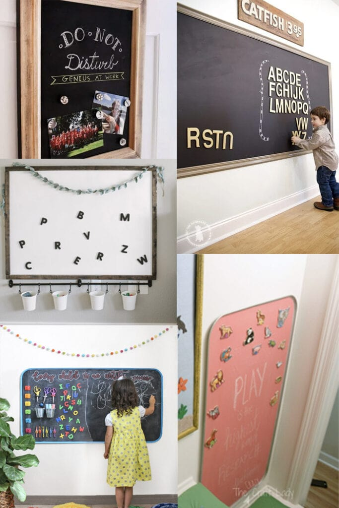 Collage of DIY Magnetic chalkboard ideas for kids