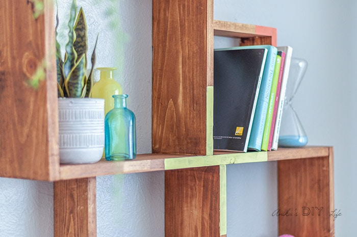 close up of diy somple wall shelf