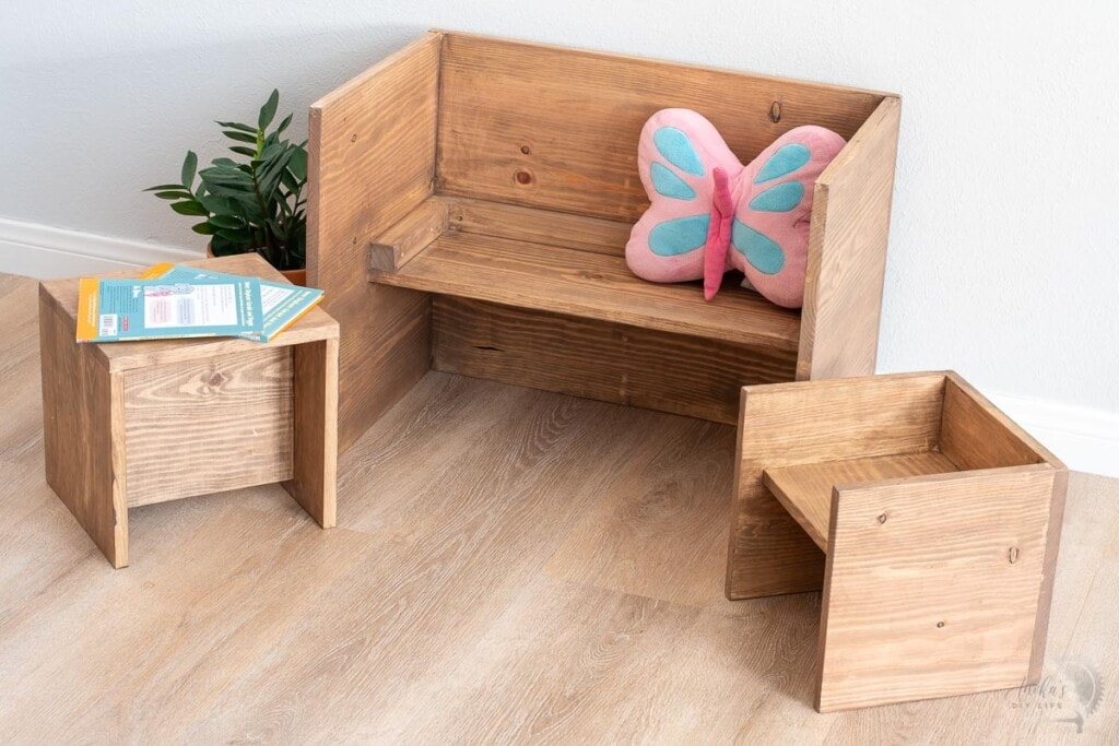 convertible DIY toddler table and chair set in bench configuration