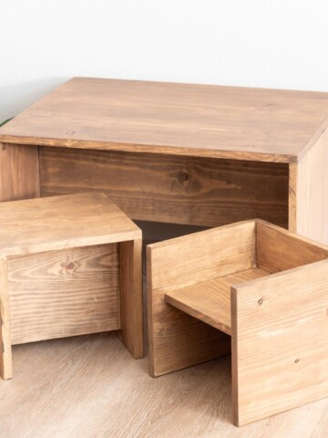 Learn how to build a convertible DIY Toddler Table and chair set, which is the perfect Montessori weaning table and can be used in so many configurations.