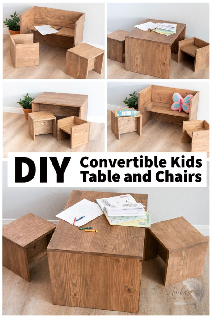 collage of convertible DIY table and chair set in various combinations with text overlay