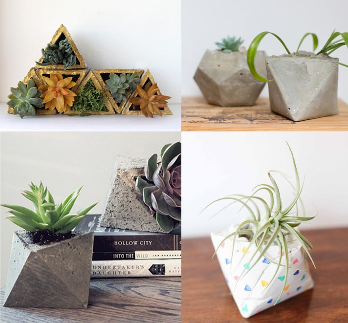 collage of 4 small DIY geometric concrete planers