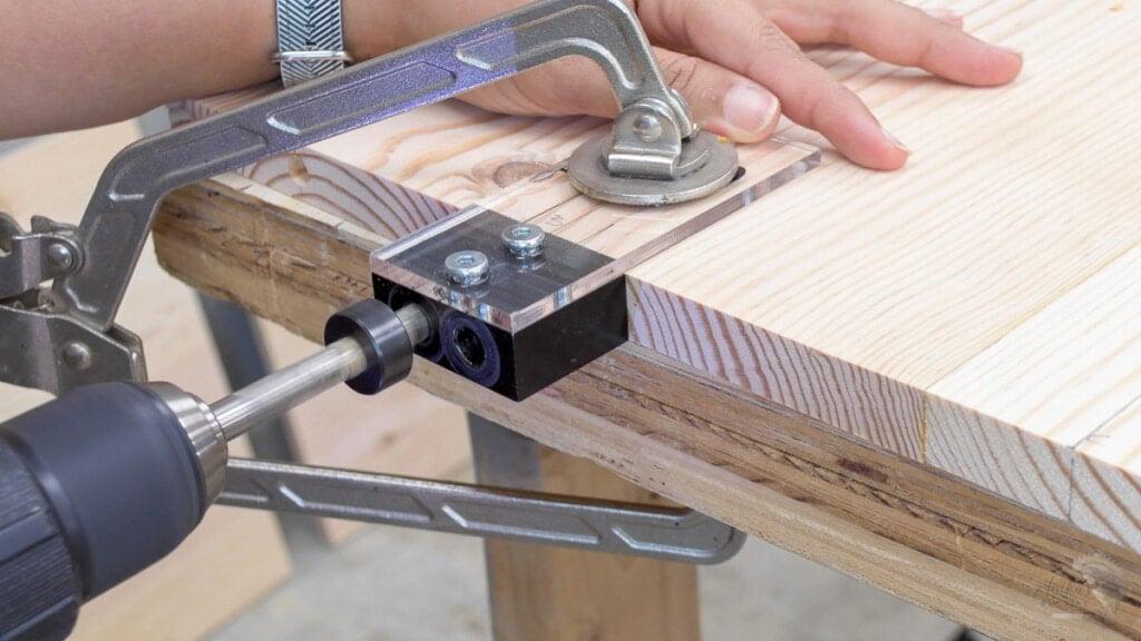 making dowel holes in a board