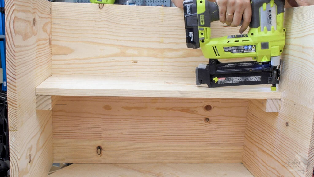 attaching the desk inset using finish nails