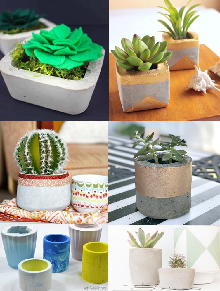 Collage of 6 DIY mini concrete planter